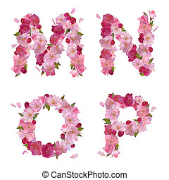 Spring alphabet with cherry flowers MNOP - Vector spring...