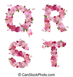 Spring alphabet with cherry flowers QRST