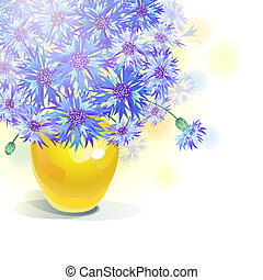 Bluebottle bouquet in yellow vase - vector - Vector greeting...