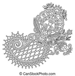 original line art ornate flower design. Ukrainian...