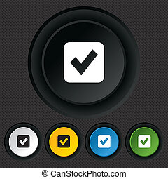 Check mark sign icon Checkbox button Round colourful buttons...