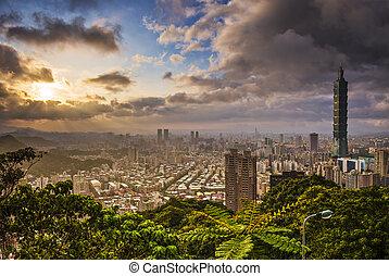 Taipei Taiwan - Taipei, Taiwan skyline at sunset.
