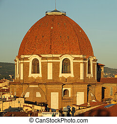 dome of Medici Chapel at sunset light, Florence