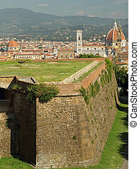 landscape of Florence with walls of Belvedere Fort and...