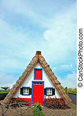 A house with a thatched gable roof. Adorn the facade of the red door and red top window.