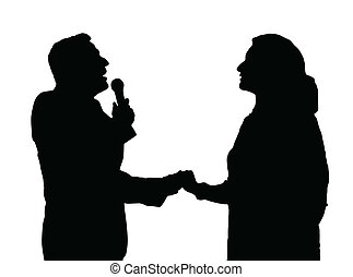 Opera Singers Silhouette - Man and Woman Duet Opera Singers...