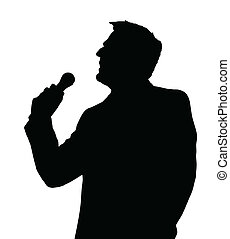 Opera Singer Silhouette - Single Male Opera Singer with...