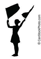 Drum Majorettes Waving Flags Line Girl - Drum Majorette...
