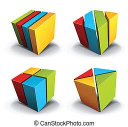 Design elements - Colorful cubical design elements.