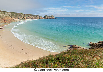 Beach by Minack Theatre Cornwall - Porthcurno beach Cornwall...