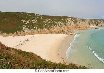 Autumn at Porthcurno beach Cornwall England UK by the Minack...