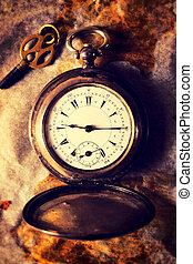 Retro watch - Retro pocket watch on the paperselective focus...