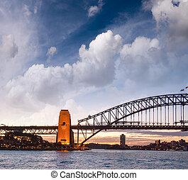 Sydney Harbour Bridge, sunset view.