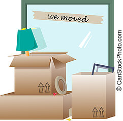 We Moved - open boxes with items inside and around them....