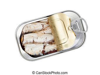abertos, lata, sardinhas, óleo