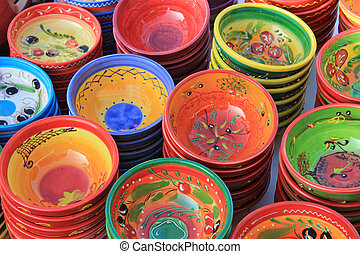 Pottery at a marketp - Pottery in traditional Provencal...