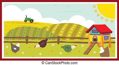 Chickens in the Field - Cute Vector illustration of chickens...