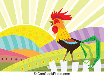 Rooster - Stylized rooster standing on a fence and a rural...