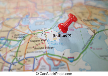 Baltimore - Red push pin in a map of Baltimore Maryland...