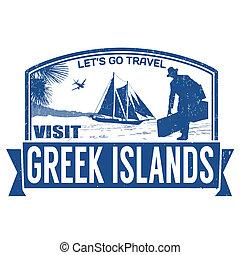 Visit greek islands stamp - Visit greek islands grunge...