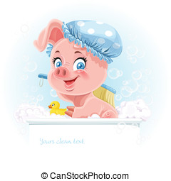 Pretty pink little piggy taking a bath and hold banner for text