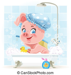Pretty pink little piggy taking a bath with foam