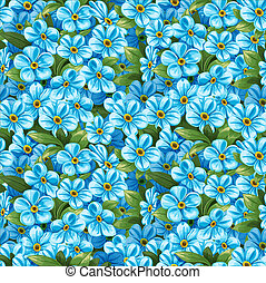 Seamless pattern of blue forget-me-not