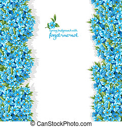 Spring forget-me-not borders on white background