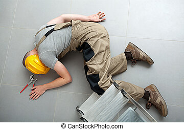Unconscious handyman on the floor - Handyman lying...