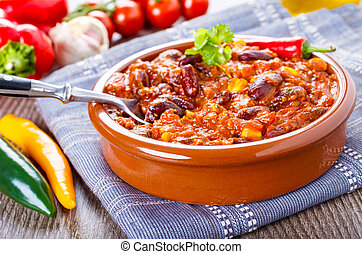 Chili con carne - stew with beans, bee and chili peppers