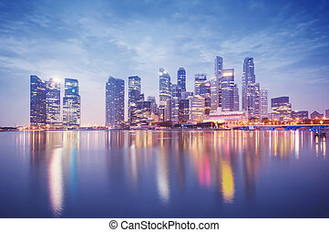 Singapore Skyline - Singapore`s business district at night.