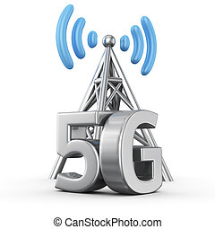 5G transmitter - Metal antenna symbol with letters 5G on...