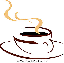 Steaming hot cup of aromatic coffee, doodle sketch icon in...
