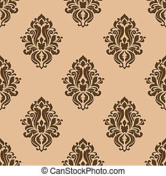 Beige and brown seamless pattern with decorative floral...