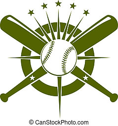 Baseball championship icon or emblem with a ball and crossed...