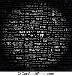 DANGER. Concept illustration. Graphic tag collection....