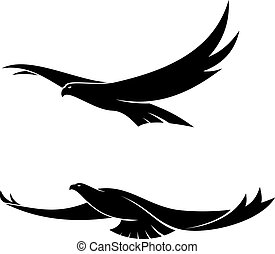 Two graceful flying birds - Silhouette in black of two...