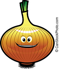Cheeky little cartoon golden onion with a happy grin...