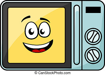 Cute cartoon microwave oven with a cheerful yellow smiling...