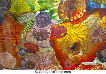 Glass Art. - Glass art on a pedestrian ceiling in Tacoma...