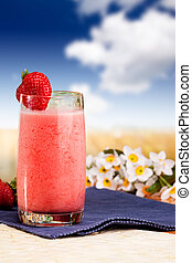 Strawberry Smoothie - A fresh summer strawberry drink in an...