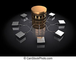 database - abstract 3d illustration of database server, over...