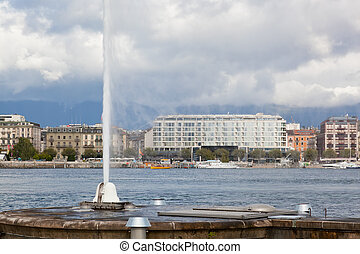 view of city of Geneva, the Leman Lake and the Water Jet, in...