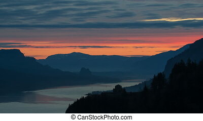 Sunrise along Columbia River Gorge - Colorful Sunrise with...