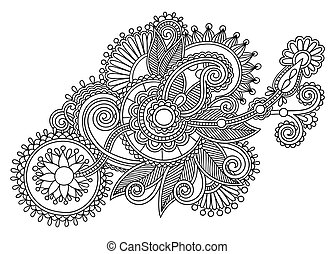 black and white original line art ornate flower design....
