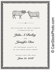 Vector Sheep and Ram Vintage Wedding Invitation Template
