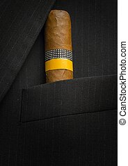 Cuban Cigar in a suit jacket - One big and exclusive Cuban...