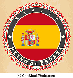 Vintage label cards of  Spain flag. Vector