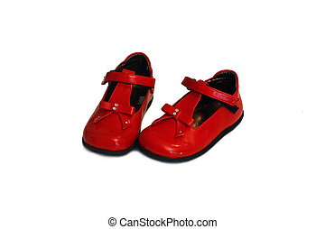 a pair of red baby shoes