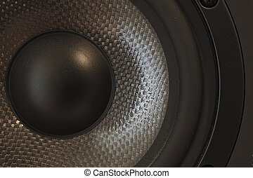 Bass and mid-tone loudspeaker - Macro / close-up of a bass...